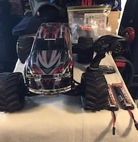 Black and red monster truck toy
