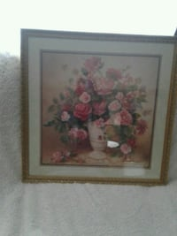 pink and white roses in white vase painting