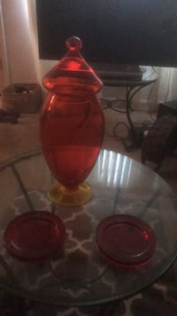 Vase and two red coasters