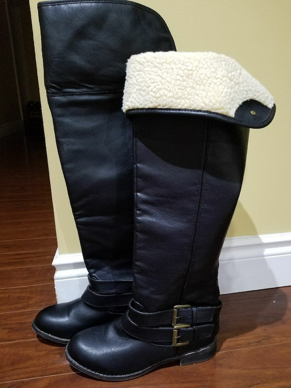 d979684fc56 Used New black leather round-toe knee-high boots for sale in Toronto - letgo