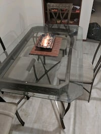 rectangular glass top table with four chairs dining set 3122 km