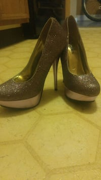 pair of brown sequined platform stilettos Edmonton, T5B 0T6