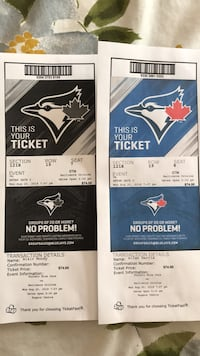 Jays tickets - August 20th Toronto, M8Y 2L3