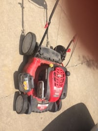 red and black push mower Little Flock
