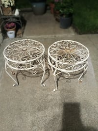 Two white distressed plant stands