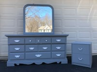 Kincaid Furniture Solid Wood Long Dresser With Mirror and Nightstand Gray With White Handles  Manassas, 20112