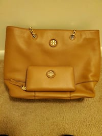Brand New Set Tory Burch Whipstich Leather Purse AND Wallet in Bark