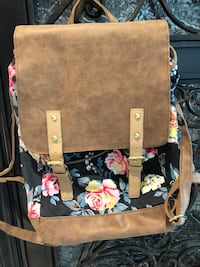 black and multicolored floral leather tote bag Austin, 78739