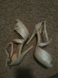 pair of gray open-toe ankle strap heels  Dallas, 75228