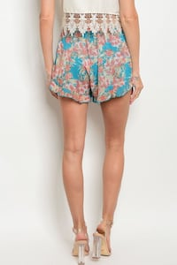 women's blue and pink floral shorts 2280 mi