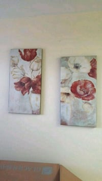 two paintings of white and red flowers in vase
