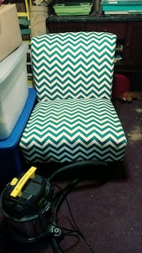 blue and white chevron padded armchair Rome, 30165
