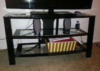 3 tier metal and glass tv stand