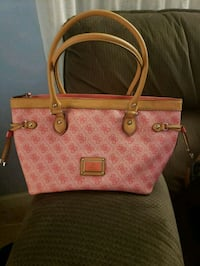 Guess bag pink w/natural handles