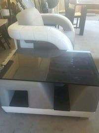rectangular white and grey table glass top
