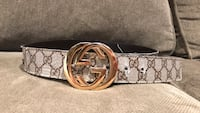 silver-colored Gucci buckle with brown leather belt Toronto, M9W 4M1