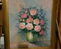 white and pink petaled flowers painting