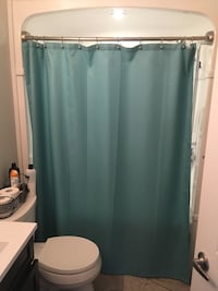 Teal cloth shower curtain  Hamilton, L9C 3X6