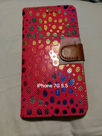 red and black leather iPhone case Bay Shore, 11706