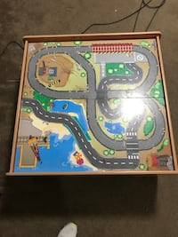 Train table with trains and tracks
