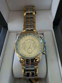 round gold chronograph watch with link bracelet Kingsville, N0R 1B0