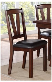 4 New brown wooden framed black leather padded chairs Alameda, 94501