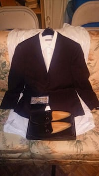 black suit and tie with suede slop-on shoes Hamilton, 31811