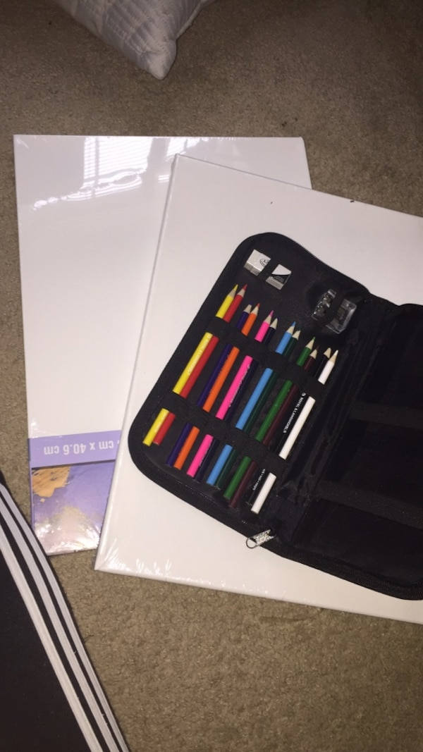 2 new canvases and a complete color pencil art set