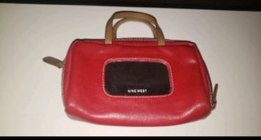 NINE West Red Makeup Bag Small Purse Pouch Mirror