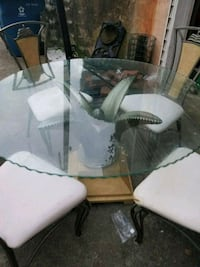 rectangular clear glass top table with four chairs Rex, 30273