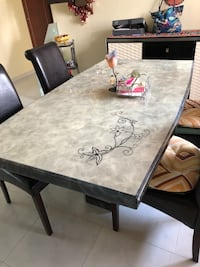 Designer marble dining with 4 leather chair Hougang, 530416