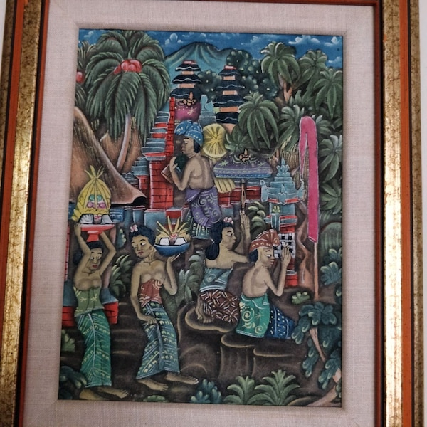 Traditional Balinese Paintings, gold wood frame 014f6c4d-502e-4ac9-a45b-05e1027ca766