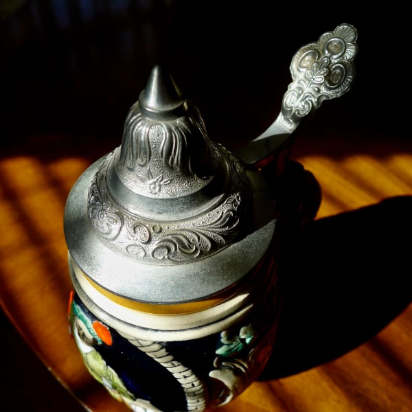 A Small & Classically Distinctive  West German DBGM Lidded Beer Stein 82703a21-8164-4434-bf2f-78f9ad91d26d