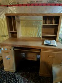 brown wooden computer desk with hutch Vaughan, L6A