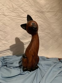 Hand carved solid wood Cat figure