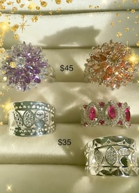 silver and pink gemstone embellished ring Lexington, 40504