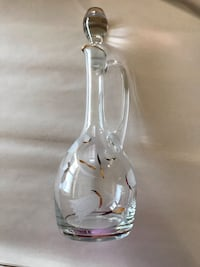 Vintage etched crystal wine decanter with gold trim. Virginia Beach, 23451