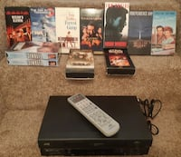 VCR Working ! with Remote & 10 vhs movies  WATCH your movies now - all ready to play  WATCH - PLAY - PAUSE - STOP - FAST FORWARD  JVC Hi Fi Stereo SQPB Model HR A590U  JVC Remote (batteries included)  Note: Remote is JVC although not the original remote.  Newmarket