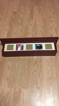 rectangular red and white floating wall rack