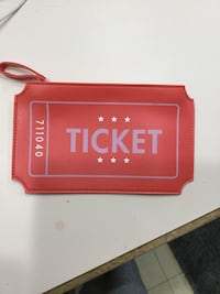 red leather Ticket themed wristlet