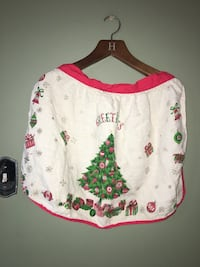 "Antique Vintage Christmas ""Greetings"" LINEN Half Apron"