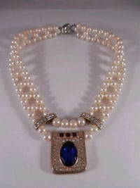 Cultured pearl and faux Sapphire regal necklace  Toronto, M6L 1A4