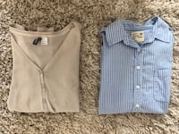 $7 cardigan (size 8) and mens inspired long sleeve (size s) Vancouver, V6C 3P9