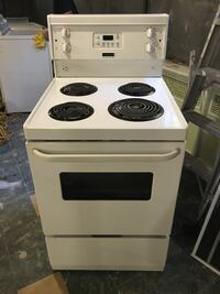 white and black electric coil range oven Beaconsfield, H9W 5M8
