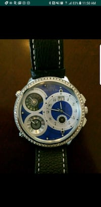 round silver and blue chronograph watch with black Long Beach, 90805