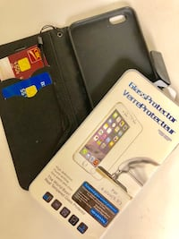 Iphone 6/7 plus - wallet cover that holds credit cards too + glass protector shatter proof clear cover!!! (glass cover worth $20 alone)