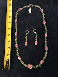 Pink/Green/Blue bead with silver settings necklace and earring set. Hand made. Los Angeles, 91304