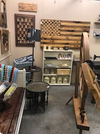 Antiques, furniture, decor, wooden American Flag, and more