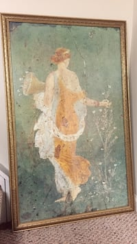 brown wooden framed painting of woman Patchogue, 11772