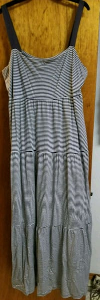 white and gray stripe dress Brownsville
